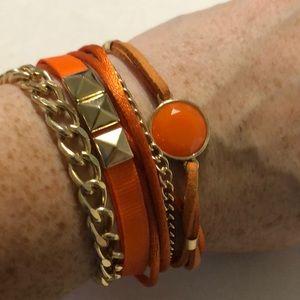 Jewelry - Orange gold tone layered magnetic closure bracelet
